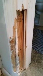 Damaged door frame